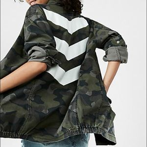 Express chevron print camo jacket